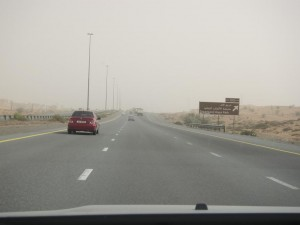Driving to RAK... that isn't a cloudy sky. That's sand!