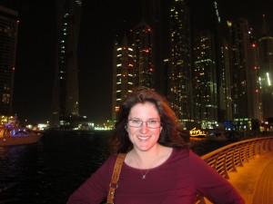 Libby and the Dubai Marina Skyline