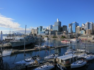Overlooking Darling Harbour and ships of the Australian National Maritime Museum
